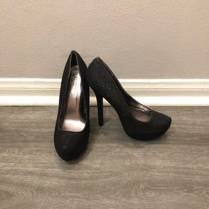Sparkly, black, platform stilettos, size 6